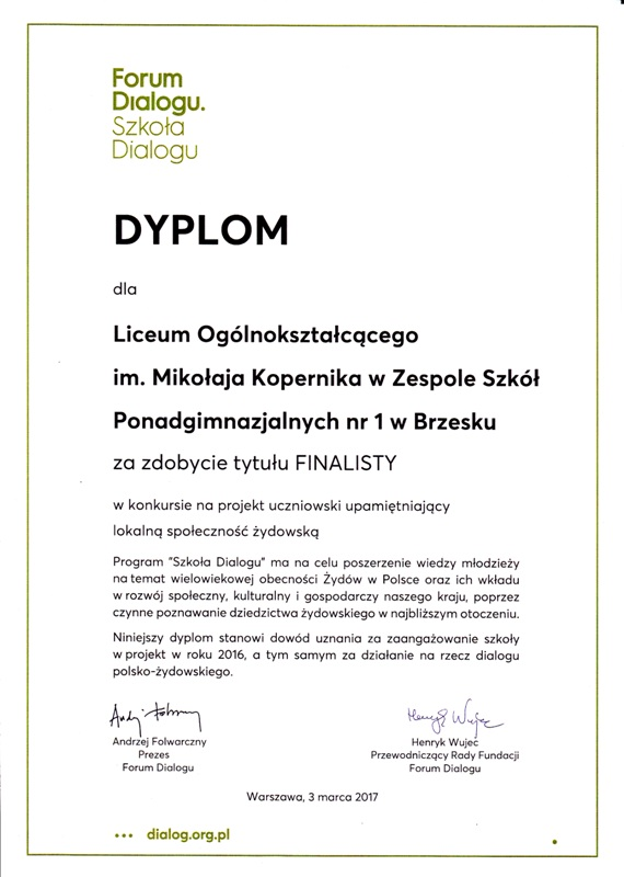 Dyplom Szkoła Dialogu